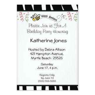 Buzzing Bee  Birthday Invitation