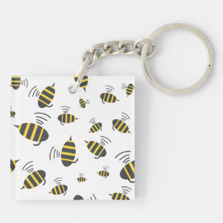 Buzzing Bumble Bee Cartoon Keychain