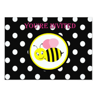 Buzzing Bumble Bee Invitation - Pink / Black
