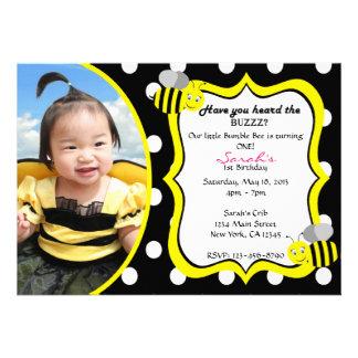 Buzzing Bumble Bee Invitation - Yellow Black