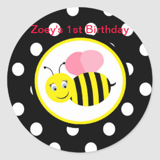 Buzzing Bumble Bee - Pink / Black Classic Round Sticker