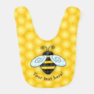 Buzzing Bumblebee and Honeycomb Icon Baby Bib