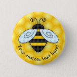 """Buzzing Bumblebee and Honeycomb Icon Button<br><div class=""""desc"""">No spring garden is complete with the sound of buzzing insects. Especially honey bees. This adorable litter bugger just landed after a long flight and is ready to rest his plaid blue wings atop a golden honeycomb. All the buzz, this bright yellow and black iconic bee and background illustration makes...</div>"""