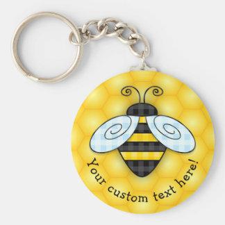 Buzzing Bumblebee and Honeycomb Icon Keychain