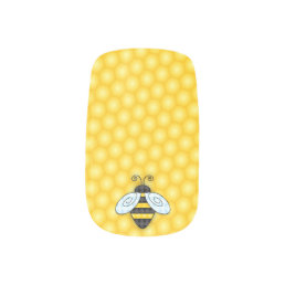 Buzzing Bumblebee and Honeycomb Icon Minx Nail Wraps