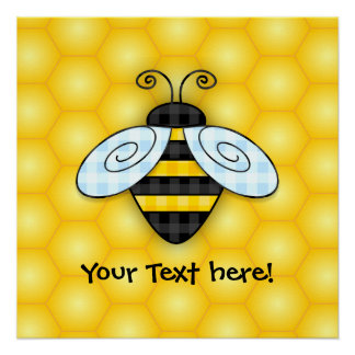 Buzzing Bumblebee and Honeycomb Icon Poster