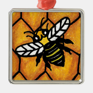 Buzzing Cute Bee Honeycomb Square Metal Christmas Ornament