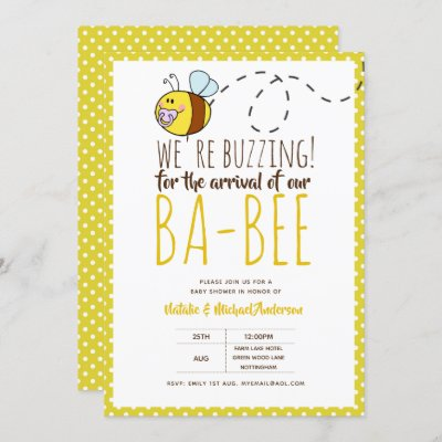 BUZZING For ARRIVAL of BA BEE Baby Shower Yellow Invitation