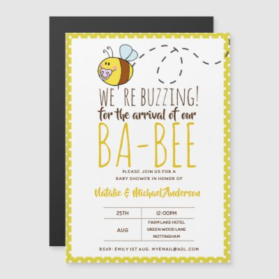 BUZZING For ARRIVAL of BA BEE Baby Shower Yellow Magnetic Invitation