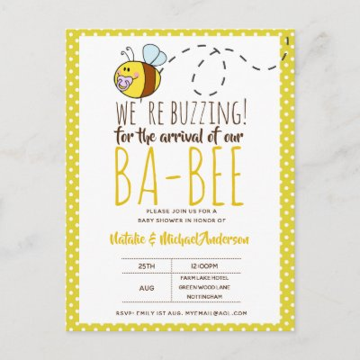 BUZZING For ARRIVAL of BA BEE Baby Shower Yellow Postcard