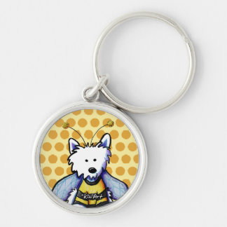 Buzzy Bee Westie Silver-Colored Round Keychain