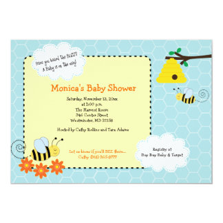 Buzzy Bees Bumble Bee Baby Shower Invitation