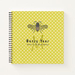 BUZZY YEAR Monogram BEE Yellow Polkadots Student Notebook