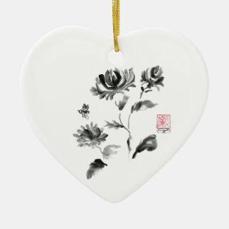 Buzzz, Sumi-e Rose with Bee Ceramic Ornament