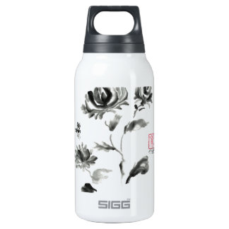 Buzzz, Sumi-e Rose with Bee Insulated Water Bottle