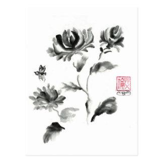 Buzzz, Sumi-e Rose with Bee Postcard