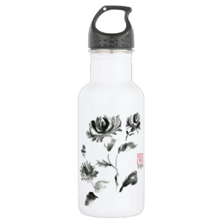 Buzzz, Sumi-e Rose with Bee Stainless Steel Water Bottle