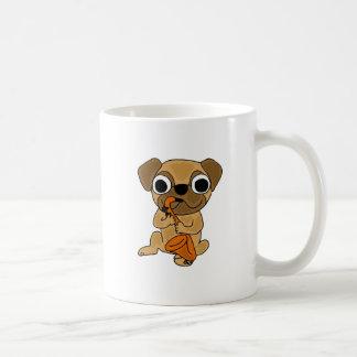 BV- Pug Playing Saxophone Cartoon Classic White Coffee Mug