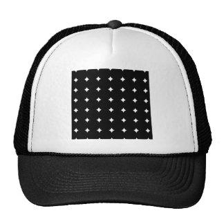 BW054 BLACK WHITE STAR DIAMOND PATTERN TEMPLATE TE TRUCKER HAT