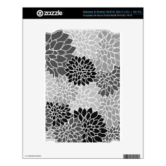 BW Allover Floral Skins For The NOOK