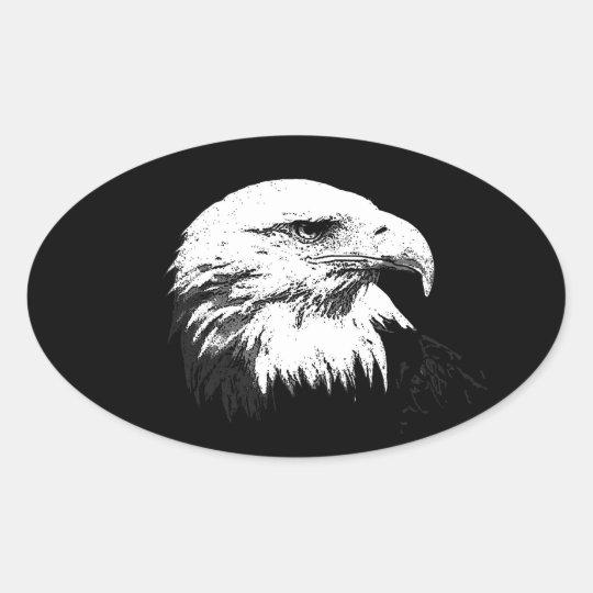 BW American Bald Eagle Oval Sticker