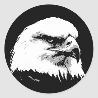 BW American Bald Eagle Round Stickers