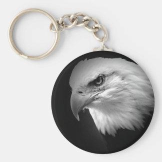 BW Bald Eagle Basic Round Button Keychain