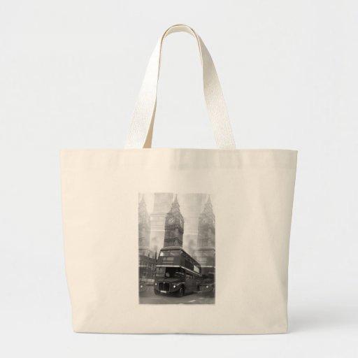 BW Black & White London Bus & Big Ben Bag