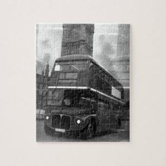 BW Black & White London Bus & Big Ben Jigsaw Puzzle