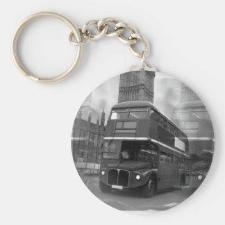 BW Black & White London Bus & Big Ben Keychain