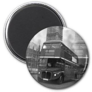 BW Black & White London Bus & Big Ben Magnet