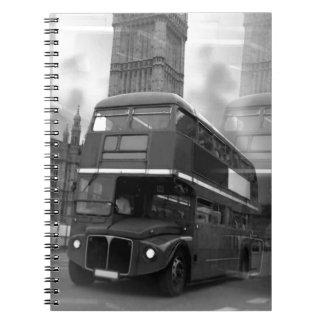 BW Black & White London Bus & Big Ben Spiral Notebook