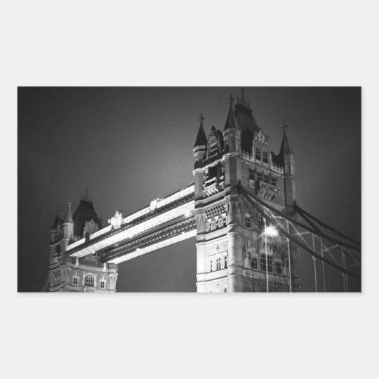 BW Black & White London Tower Bridge Rectangular Sticker