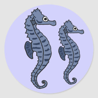BW- Blue Sea Horses Sticker