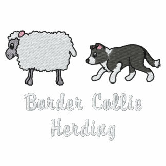 BW Border Collie Herding Embroidered Hoodie