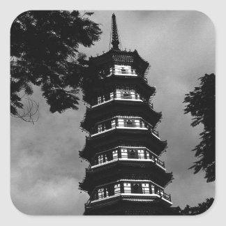 BW China Canton the flowery pagoda 1970 Square Sticker