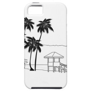BW Coconut tree & Lifeguard hut iPhone SE/5/5s Case