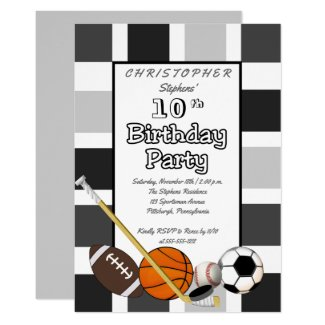 BW Color Block All Star Sports Birthday Party Invitation
