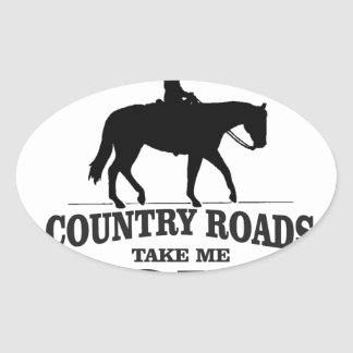 bw country roads take me home oval sticker