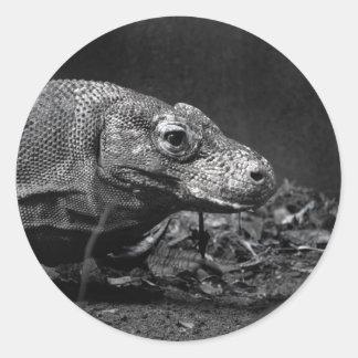 bw del dragón de komodo que parece correcto etiquetas redondas