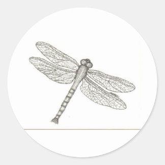bw_dragonfly05 001 pegatina redonda