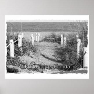 BW duna del paseo de la playa de Fort Pierce la F Posters