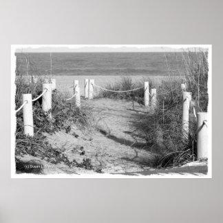 BW duna del paseo de la playa de Fort Pierce, la F Posters