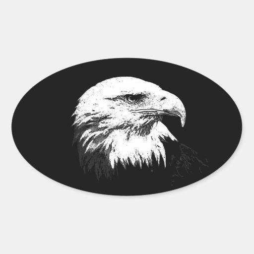 BW Eagle calvo americano Pegatina Ovalada