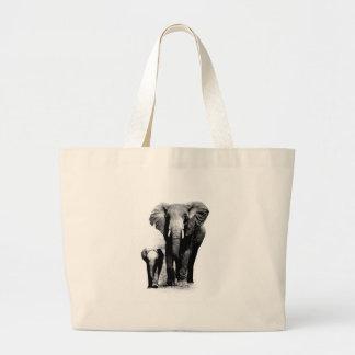 BW Elephant & Baby Elephant Canvas Bags