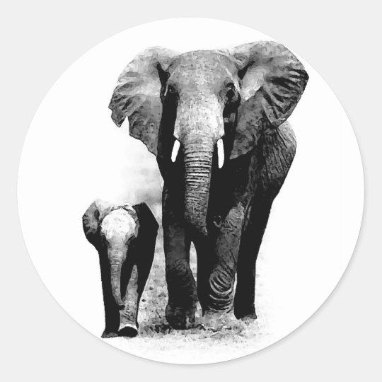 BW Elephant & Baby Elephant Classic Round Sticker