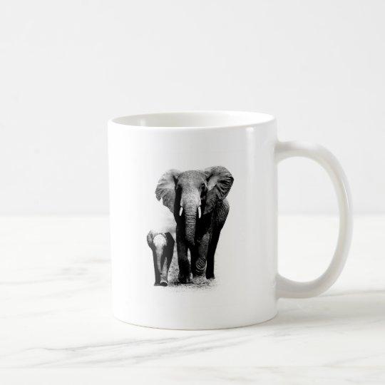 BW Elephant & Baby Elephant Coffee Mug