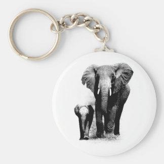 BW Elephant & Baby Elephant Keychain
