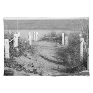 BW Fort Pierce, Florida beach walk dune roped off Cloth Placemat