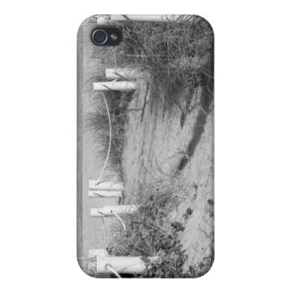 BW Fort Pierce, Florida beach walk dune roped off iPhone 4 Covers